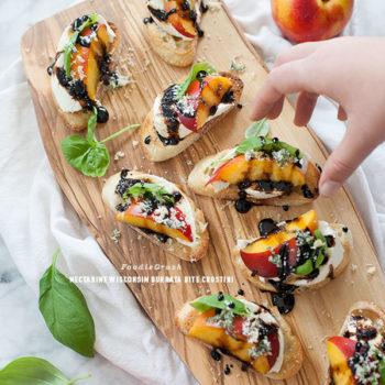 Nectarine and Wisconsin Burrata Bite Crostini | foodiecrush.com
