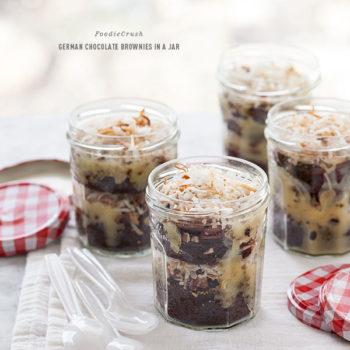 German Chocolate Brownie in a Jar | foodiecrush.com