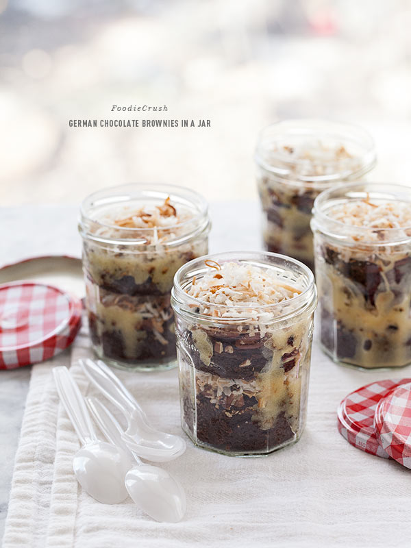 German Chocolate Brownie in a Jar | foodiecrush.com