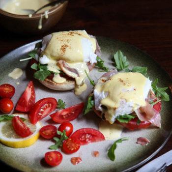 Arugula and Prosciutto Egg Benedict | foodiecrush.com