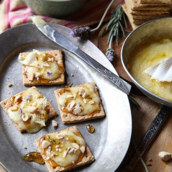 Brie Graham Cracker Crostini with Lavendar Honey | FoodieCrush.com