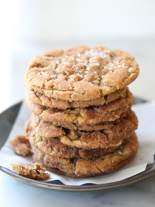 stack of gluten free peanut butter cookies on plate