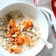 Maple Oatmeal with Sweet Potato | FoodieCrush.com