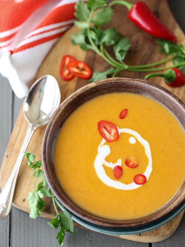 5 Ingredient Thai Pumpkin Soup   foodiecrush.com