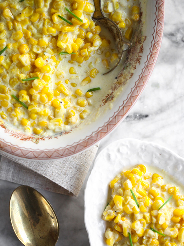 crock pot creamed corn in serving dish