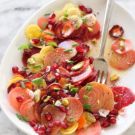 Beet Carrot and Pomegranate Salad FoodieCrush.com