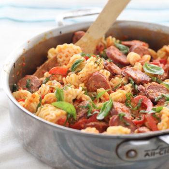 Creamy Red Pepper and Chicken Sausage Pasta | foodiecrush.com