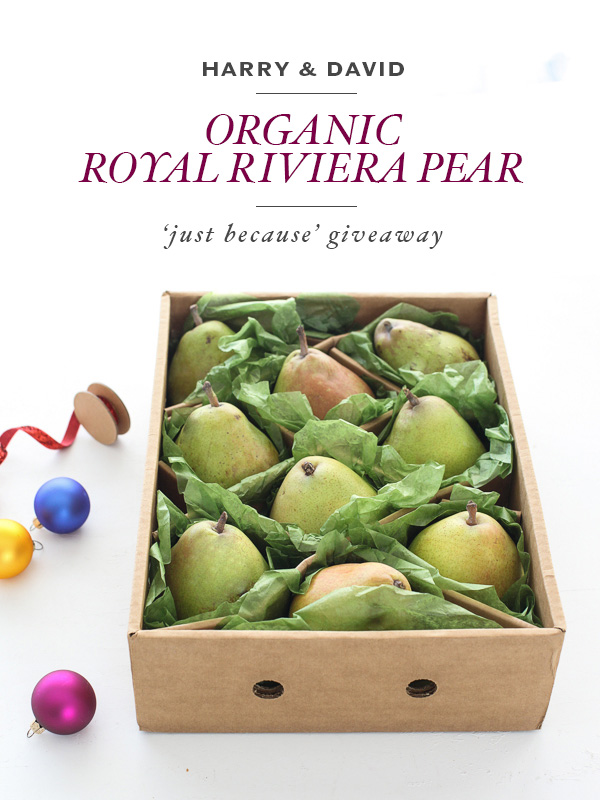 Harry and David Organic Royal Riviera Pears Giveaway | foodiecrush.com