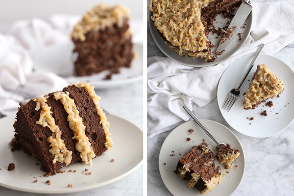 chocolate cake frosted with german chocolate cake frosting