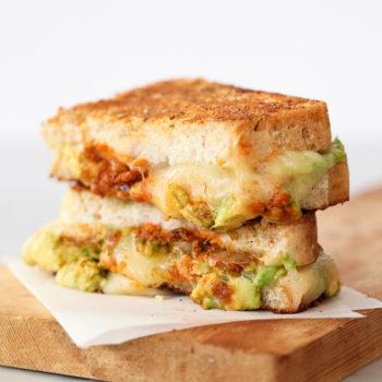 Garlicky Avocado Tomat Pesto Grilled Cheese Sandwich