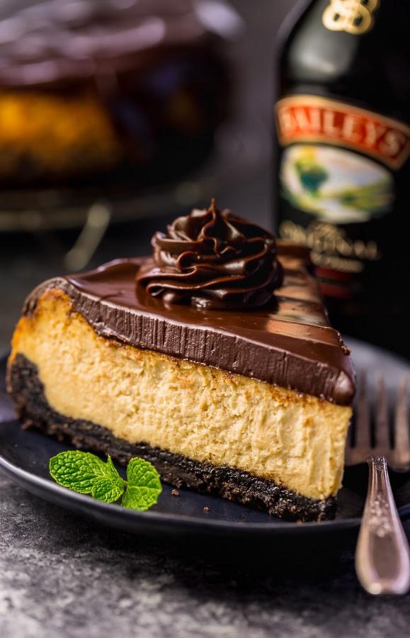 Bailey's Irish Cream Cheesecake from Baker by Nature on foodiecrush.com