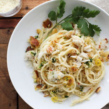 Crab Spaghetti with Lemon Gremolata foodiecrush.com