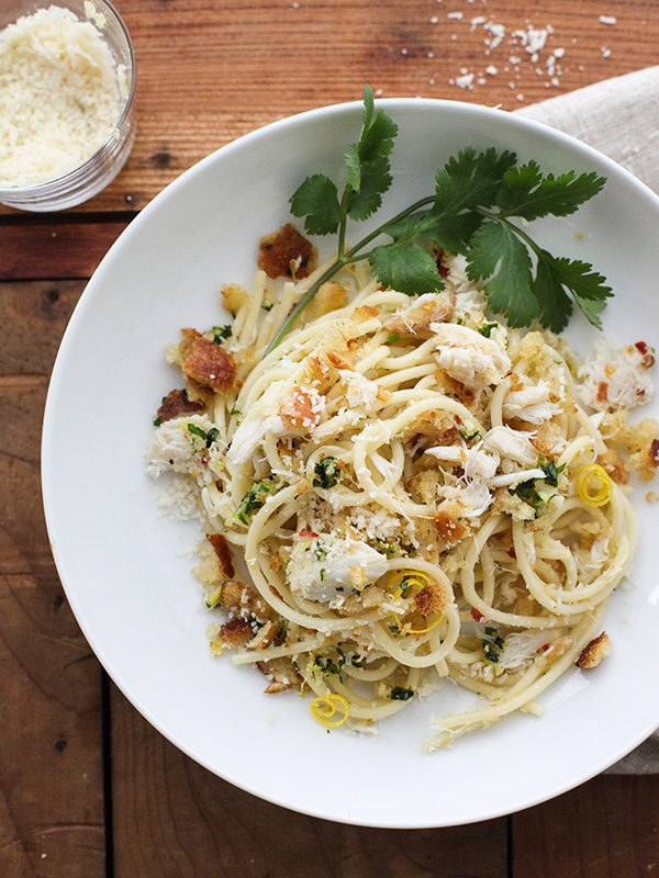 Crab Spaghetti with Lemon Gremolata foodiecrush.com