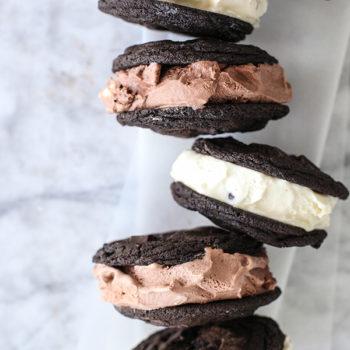 Double Chocolate Chip Cookie Ice Cream Sandwich foodiecrush.com