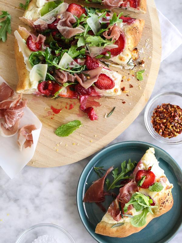 Berry Arugula and Prosciutto Pizza | foodiecrush.com-001