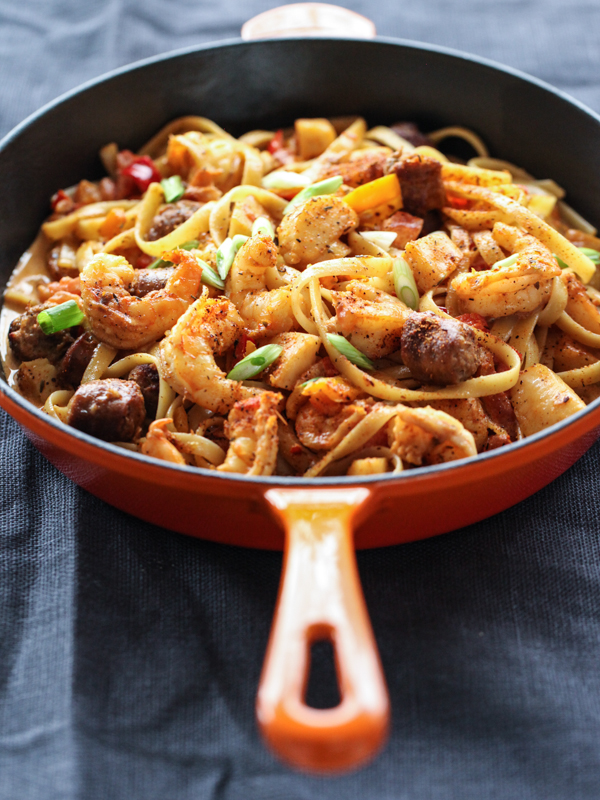 Blackened Seafood Pasta | foodiecrush.com