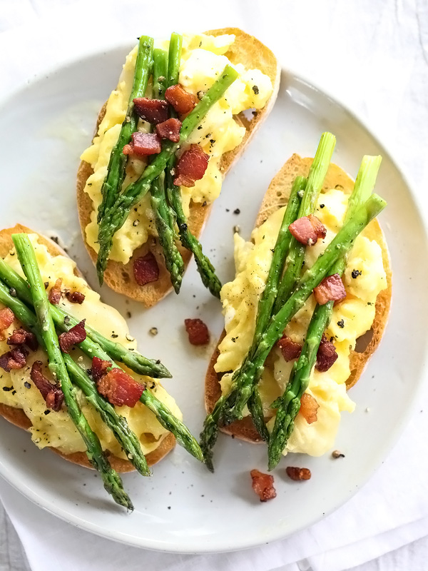 Scrambled Egg and Roasted Asparagus Toasts | foodiecrush.com