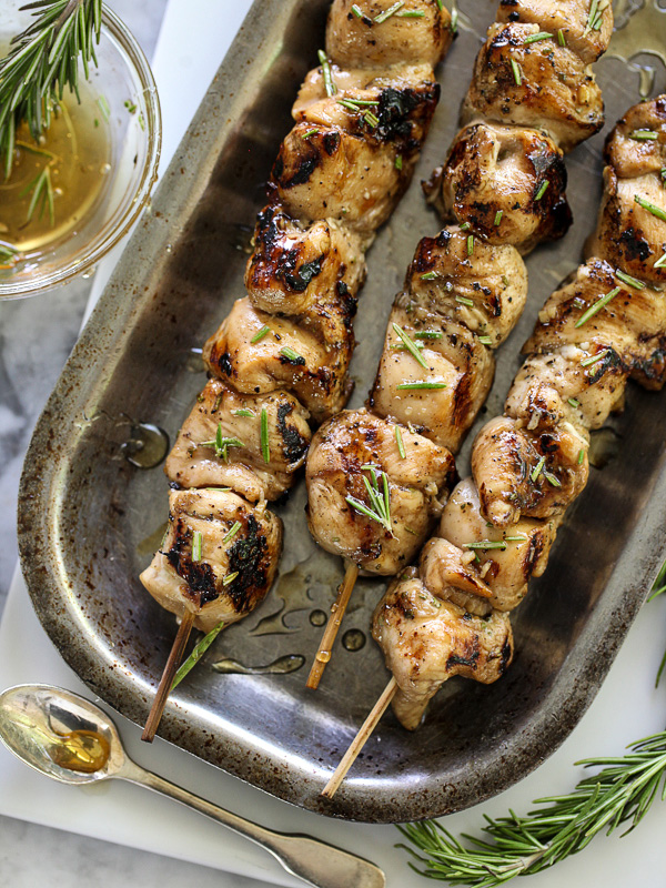 Balsamic and Honey Chicken Skewers on foodiecrush.com