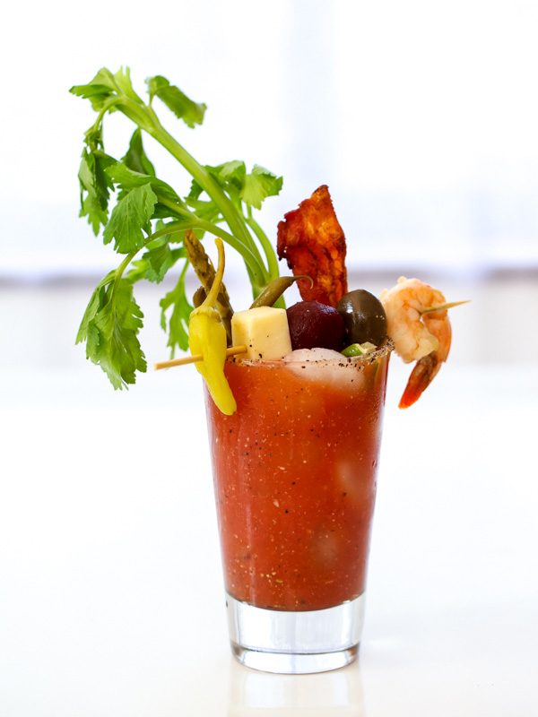 Bloody Mary cocktail with garnishes