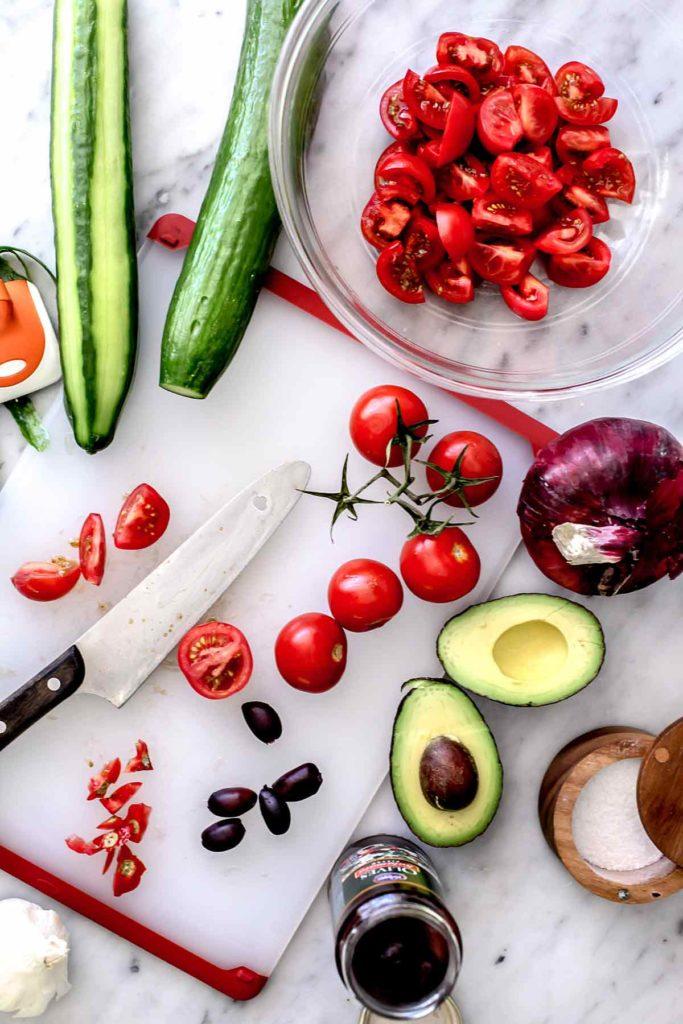 Greek Salad with Avocado ingredients | foodiecrush.com #greek #salad #avocado #healthy #recipe #dinner #authentic