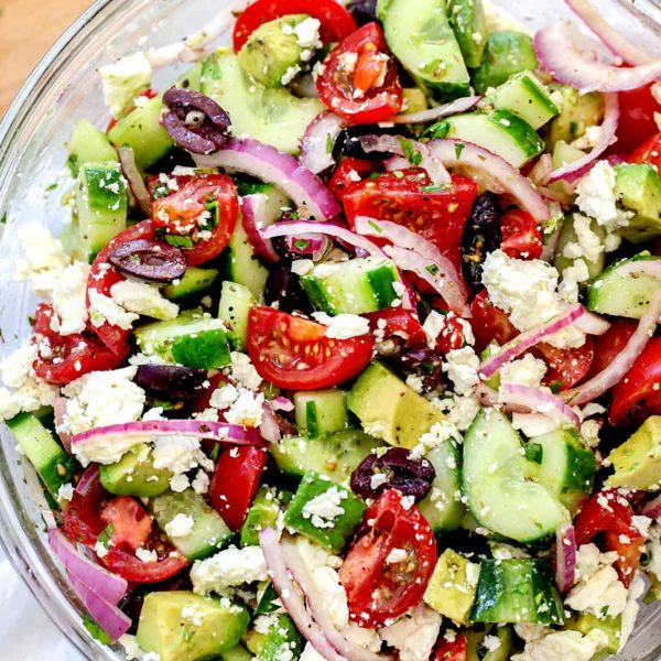 Greek Salad with Avocado | foodiecrush.com #greek #salad #avocado #healthy #recipe #dinner #authentic