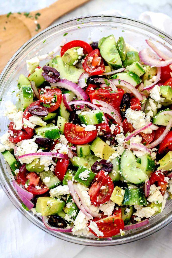 Greek Salad with Avocado | foodiecrush.com #greek #salad #avocado #healthy #recipe #dinner #authentic