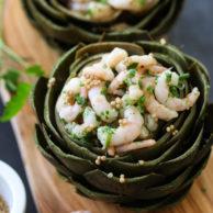 Stuffed Artichokes with Thai Shrimp Salad on foodiecrush.com