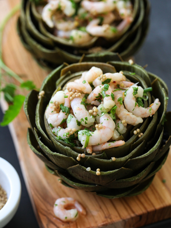 Stuffed Artichokes with Thai Shrimp Salad on foodiecrush.com