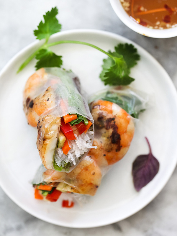 fresh shrimp spring rolls on plate