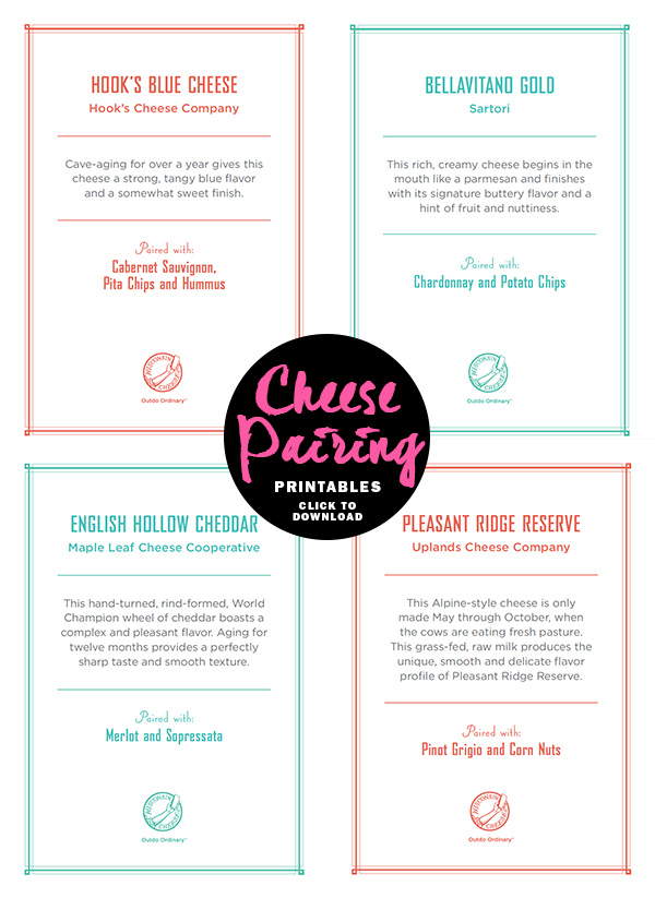 Cheese Pairing Printables on foodiecrush.com