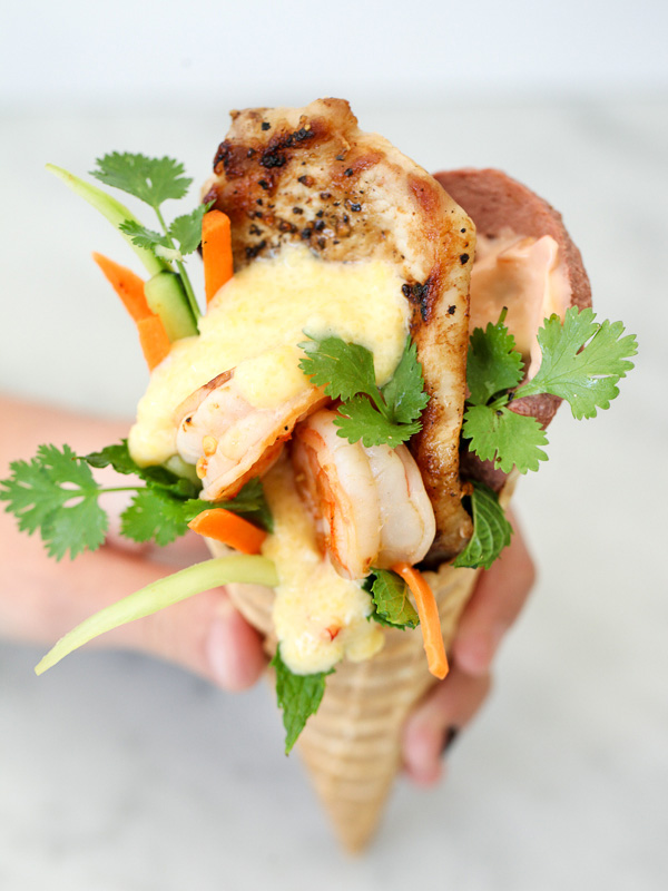 Cheesy Shrimp and Grits Banh Mi in a Waffle Cone #recipe on foodiecrush.com