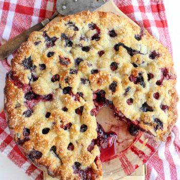 Four Berry Pie Recipe on foodiecrush.com