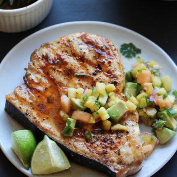 Smoked Paprika Grilled Swordfish with Fruit Salsa on foodiecrush.com