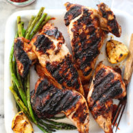 Chicken Grilled Under a Brick with Harissa Marinade on foodiecrush.com