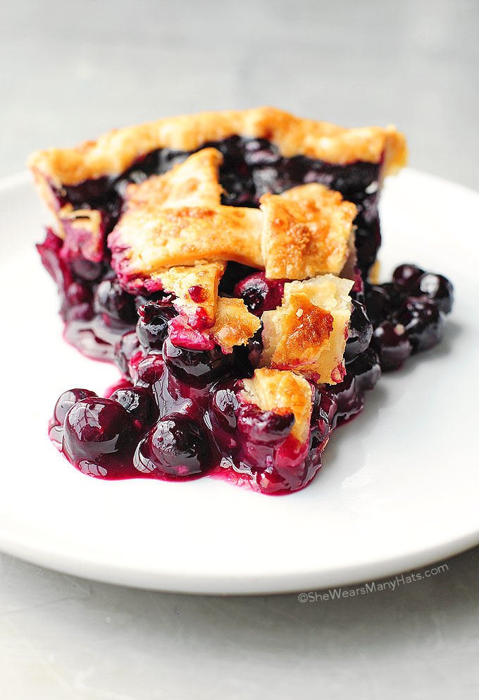 Easy Blueberry Pie from She Wears Many Hats on foodiecrush.com