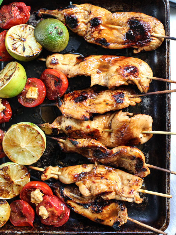 Lime and Chile Butter Chicken Skewers #recipe on foodiecrush.com