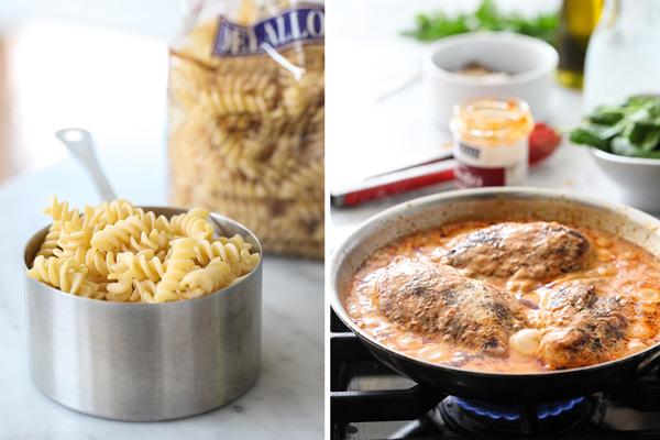 One Pan Sun Dried Tomato Pesto Creamy Chicken #recipe on foodiecrush.com