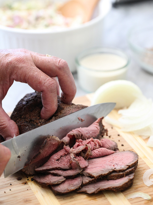 Sirloin Steak Sandwiches with Horseradish Sauce on foodiecrush.com