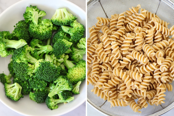 Cheesy Chicken and Broccoli Whole Wheat Pasta on foodiecrush.com