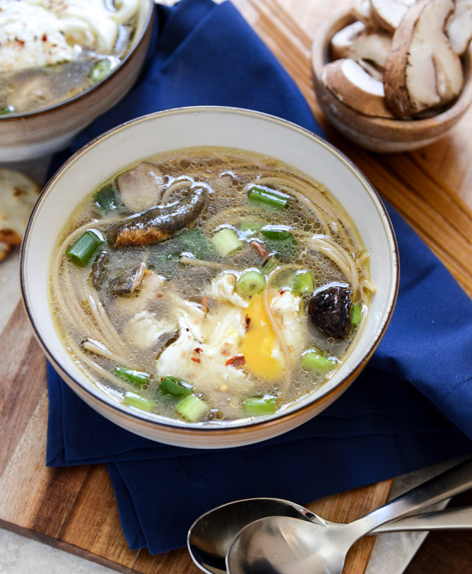 Chicken Mushroom Noodle Soup With Poached Eggs