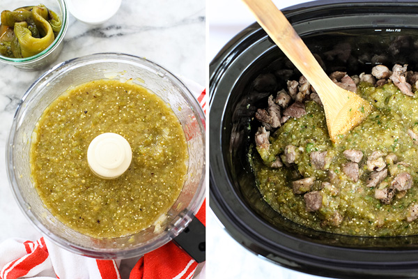 making slow cooker green chili with pork