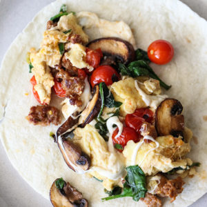 Scrambled Egg and Sausage Breakfast Burrito on foodiecrush.com