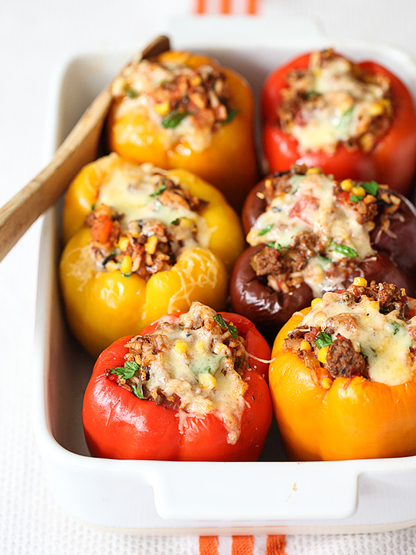 Ground Beef Stuffed Bell Peppers Recipe on foodiecrush.com #beef #healthy #stuffed #peppers #healthy #dinner #recipes