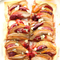 Baked Pear and Plum Puff Pastry Tart with Blue Cheese on foodiecrush.com