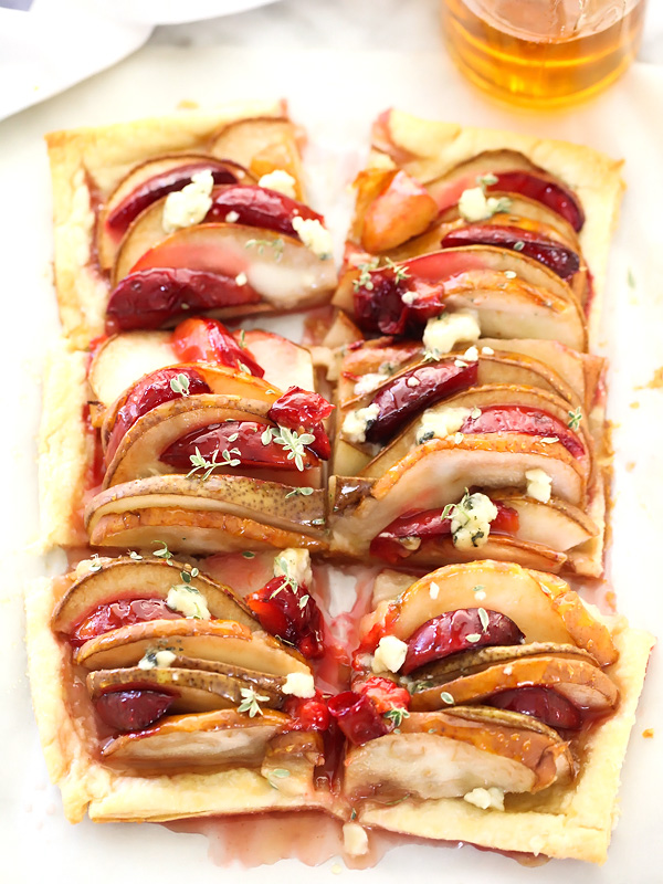 Baked Pear and Plum Phyllo Tart with Blue Cheese on foodiecrush.com