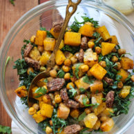 Kale Salad with Butternut Squash, Chickpeas and Tahini Dressing on foodiecrush.com