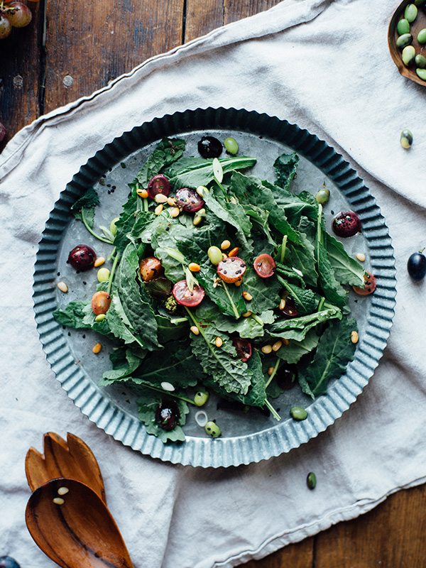 warm sautéed grapes, autumn kale + edamame salad w- shiso vinaigrette