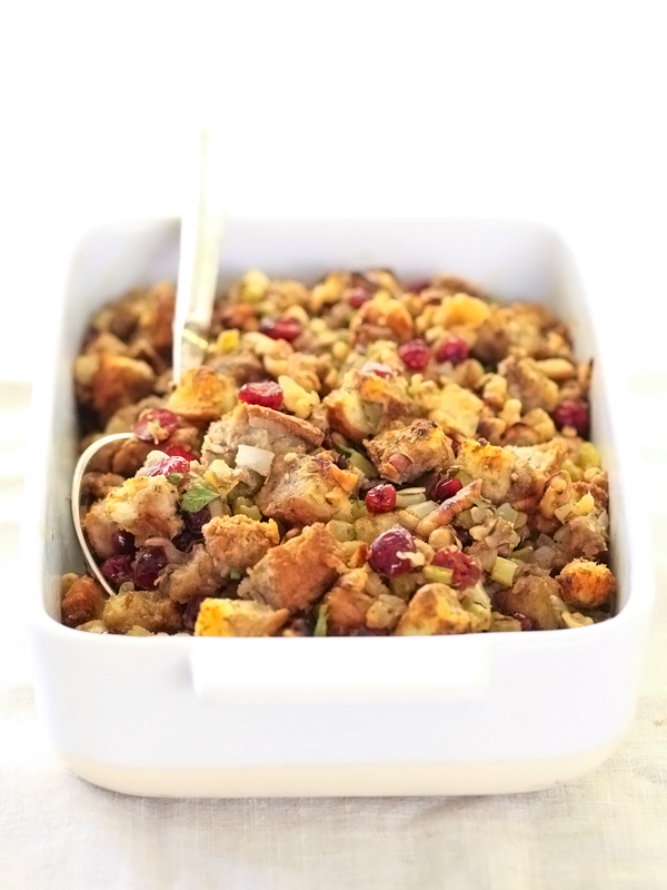 Cranberry and Walnut Stuffing | foodiecrush.com #recipes #simple #easy