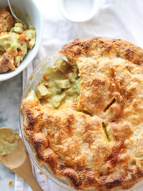 Curry Turkey Pot Pie and Homemade Butter Pie Crust | foodiecrush.com #recipe #crust #turkey