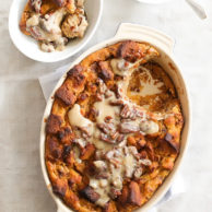 Pumpkin Bread Pudding with Whiskey Cream Sauce on foodiecrush.com